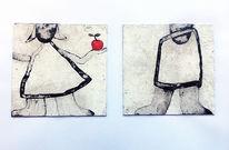 Mischtechnik, Figur, Verwitterung, Malerei