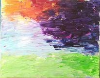 Regenbogen, Bunt, Spachteltechnik, Acrylfarben