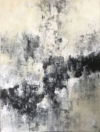 Abstrakte malerei, Acrylmalerei, Schwarz, Weiß