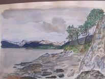Feuerland, Landschaft, Gouachemalerei, Aquarell