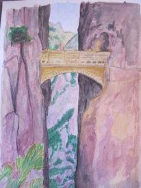 Architektur, Brücke, Gouachemalerei, Aquarell