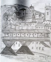 Italien, Bassano, Brücke, Reiseskizze
