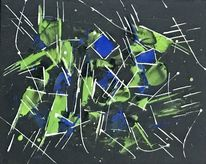 Abstrakt, Blau, Spachteltechnik, Schwarz grün
