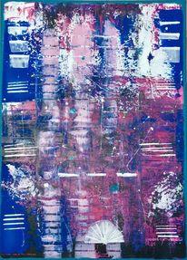 Blau lila rosa, Acrylmalerei, Rakeltechnik, Malerei