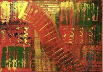 Rot gelb abstrakt, Spachteltechnik, Abstraktes gemälde, Malerei abstrakt