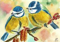 Meise, Aquarellmalerei, Vogel, Malerei