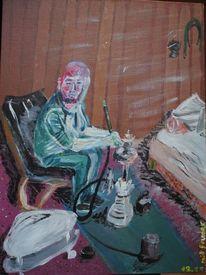 Acrylmalerei, Sessel, Karton, Pfeife