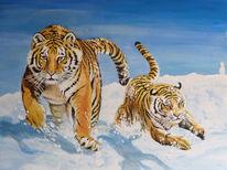 Sibirischertiger, Winter, Tiger, Acrylmalerei