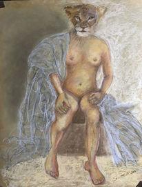Figur, Akt, Löwin, Portrait