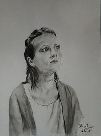 Portrait, Bedenkliche zeiten, Frau, Bedenklicher blick