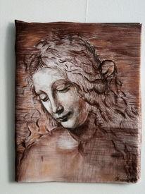 Leonardo da vinci, La scapigliata, Sepia, Skizze