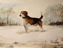 Beagle, Im schnee, Mischtechnik, Stattlich