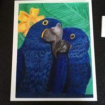 Papageimalerei, Blau, Malerei