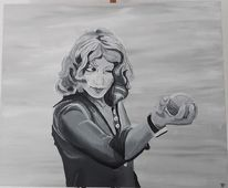 Frau, Malerei, Schwarzweiß, Spielerin
