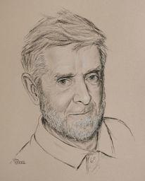 Kohlezeichnung, Zeichnung, Mann, Portrait