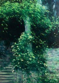 Landschaft malerei, Garten, Rose, Tessin