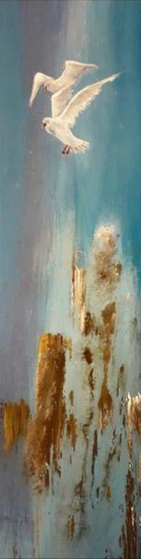 Poller, Vogel, Abstrakt, Acrylmalerei