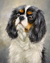 Kavalier, Tierportrait, Spaniel, Ölmalerei
