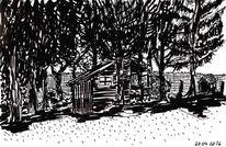 Garten, Schatten, Edding auf papier, Hütte