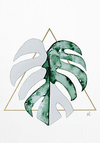 Aquarellmalerei, Monstera deliciosa variegata, Monstera leaf, Monstera white leaf