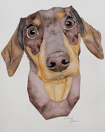 Tierportrait, Dackel, Handgemaltes hundeportrait, Aquarellmalerei