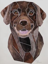 Handgemaltes hundeportrait, Abstrakt, Tierportrait, Labbi
