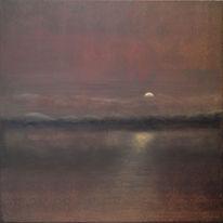 Landschaft malerei, Meer, Nebel, Abendstimmung