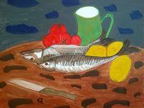 Abstrakte malerei, Gemüse, Fisch, Stillleben