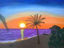 Abstrakte malerei, Insel, Sonnenuntergang, Landschaft