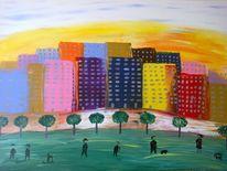Abstrakte malerei, Abstrakte landschaft, Malerei, Stadtpark