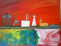 Abstrakte malerei, Stadt, Landschaft, Malerei