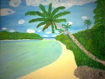 Meer, Abstrakte malerei, Palmen, Malerei