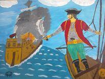 Comic, Menschen, Malerei, Pirat