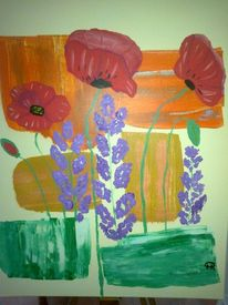 Abstrakte malerei, Blumen, Malerei, Mohn