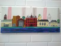 Stadt, Skyline, Landschaft, Malerei