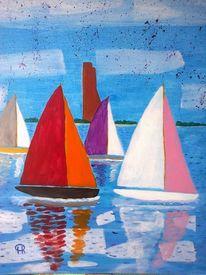 Abstrakte malerei, Segel, Wasser, Sport