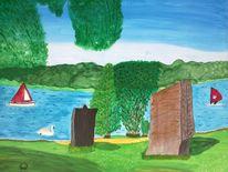 Abstrakte malerei, See, Skulptur, Landschaft
