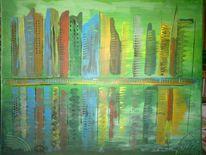 Skyline, Stadt, Abstrakte malerei, Landschaft