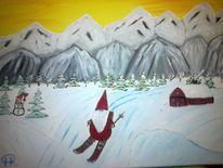 Weihnachten, Abstrakte malerei, Wichtel, Landschaft