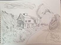 Landschaft, Bleistiftzeichnung, Zeichnungen, Haus