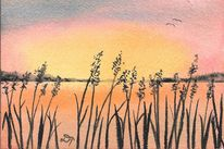 Landschaft, See, Sonnenuntergang, Aquarellmalerei