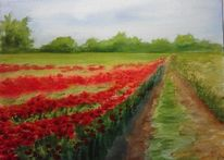 Aquarellmalerei, Blumen, Sommer, Landschaft
