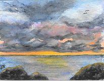 Landschaft, Aquarellmalerei, Wolken, Meer