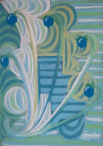 Grün, Abstrakt, Blau, Malerei