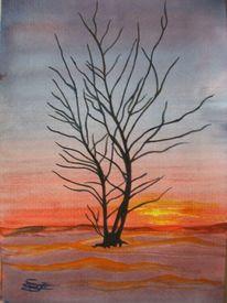 Sonnenuntergang, Baum, Winter, Aquarell