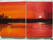 Rot, See, Sonnenuntergang, Malerei