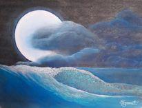 Mondlicht, Wolken, Spiegelung, Malerei