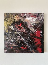 Malerei, Abstrakte kunst, Schwarz, Pouring technik