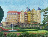 Pixelart, Bertholdsburg, Schleusingen, Aquarell