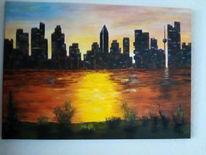 Acrylmalerei, Landschaft, Mischtechnik, Malerei